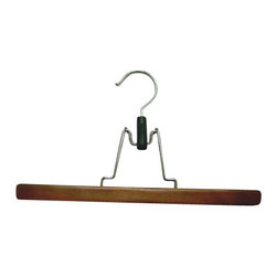 Proman - Gemini Flat Skirt Hanger, Walnut Finish - Gemini-flat 28x2x1cm skirt hanger, with o felt, light walnut finish, chrome hardware, 72/case. Skirt hanger without felt. Chrome hardware.