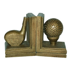 Hickory Manor House - 2 Pc Golf Bookend Set in Antique Gold Finish - Set of 2. Vintage original. Custom made by artisans unfortunately no returns allowed. Enhance your decor with these graceful bookends. Made in the USA. Made of pecan shell resin. 6.75 in. L x 5 in. W (5 lbs.)
