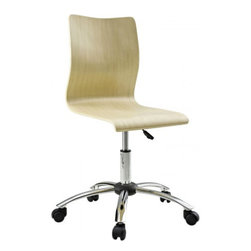 Fashion Office Chair in Natural - For those looking for an ultra-modern office chair, this design will not disappoint. Made with unconventional office chair materials, this chair is striking and provides a new seating experience. Set Includes: One - Plywood Swivel Office Chair in Natural