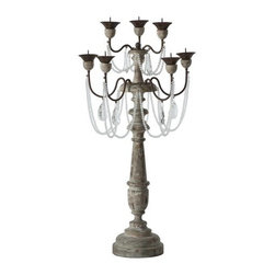 Aidan Gray - Chateau La Grey Candlesticks, Set of 2 - Bring a glamorous, amorous touch to your favorite traditional setting with these French-inspired candlesticks (sold as a pair). Crystal strands and drops against carved, aged wood create an elegant, oh-so-romantic effect.
