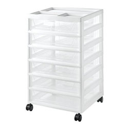 IRIS USA, Inc. - 6-Drawer Chest with Casters, White/Clear - Add convenient and versatile storage to cluttered areas in the garage, basement, utility closet or just about anywhere in your home. This durable storage unit includes casters for easy mobility and offers three spacious, clear plastic drawers for organizing everything from clothing to tools