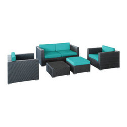 """LexMod - Malibu 5 Piece Outdoor Patio Sofa Set in Espresso Turquoise - Malibu 5 Piece Outdoor Patio Sofa Set in Espresso Turquoise - On the border of the Pacific Ocean lies a place of great peace and quietude. Surrounded by silence, Malibu's soft all-weather turquoise fabric cushions and espresso rattan base take you to that place, one relaxing and conducive for interaction with others. Abstract past experiences morph into future discoveries with a warm set that helps expand your horizons. Set Includes: One - Malibu Outdoor Wicker Patio Coffee Table One - Malibu Outdoor Wicker Patio Loveseat One - Malibu Outdoor Wicker Patio Ottoman with Cushion Two - Malibu Outdoor Wicker Patio Armchairs Synthetic Rattan Weave, Powder Coated Aluminum Frame, Water & UV Resistant, Machine Washable Cushion Covers, Easy To Clean Tempered Glass Top, Ships Pre-Assembled Coffee Table Dimensions: 24""""L x 24""""W x 12""""H Ottoman Dimensions: 24""""L x 24""""W x 12""""H Armchair Dimensions: 33""""L x 33""""W x 26""""H Loveseat Dimensions: 33""""L x 63""""W x 26""""H Seat Height : 12""""HBACKrest Height: 25.5""""H Armrest Dimensions: 5""""L x 25.5""""H Cushion Depth: 4""""H Overall Product Dimensions: 57""""L x 129""""W x 26""""H - Mid Century Modern Furniture."""