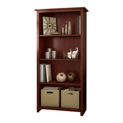 South Shore - South Shore Mill 4 Shelf Bookcase in Royal Cherry - South Shore - Bookcases - 7046767 - Ideal for your binders board games and decorative items this versatile 4-shelf bookcase can meet all of your storage needs. The finish and leg-shaped mouldings give this piece a Transitional look that works with any d��cor.