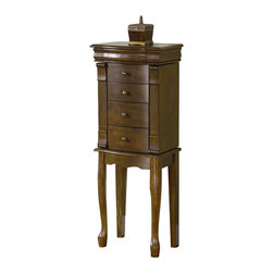 "Powell Furniture - Powell Furniture Louis Philippe Walnut Jewelry Armoire - Powell Furniture - Jewelry Armoires - 741319 - The freestanding ""Walnut"" finished jewelry armoire is accented with beautiful round drawer pulls, intricate carved details and queen Anne legs. Sized for economy and function, this jewelry armoire is the perfect piece to store all of your beloved treasures. Inside features plush black lining. Some assembly required."