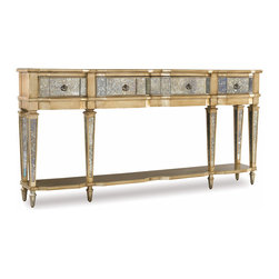 Hooker Furniture - Three-Drawer Thin Console - If you love the ornate, this console table belongs to you. The delicate mirrored legs and drawers will reflect light all day. And at night, when the candlelight catches it, it will sparkle and dazzle like a shimmering jewel.