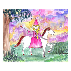 "Oh How Cute Kids by Serena Bowman - Twilight Princess Ride, Ready To Hang Canvas Kid's Wall Decor, 16 X 20 - The sky is beautiful in this picture -  You will love the dramatic look of this picture! There is also a ""Morning Princess"" - princess with bird and cat. that goes with this!"