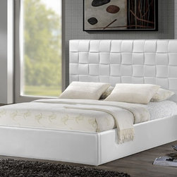 Baxton Studio - Lydia White Modern Bed - Queen Size - Our Lydia Bed features a faux leather upholstered headboard  as well as a matching footboard. Finishing the look is a white rubberwood frame,foam padding.