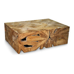 Vert Coffee Table - Fantastical presentations of hardwood's inner heat span the crisply-edged walls of the Vert Coffee Table, a rectangular cube artfully crafted from genuine teak. The ripples and hollows that infuse the sides of this table with their organic dignity result from the natural shapes and patterns of the high-end wood, while the blocky form has transitional presence.