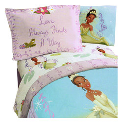 Jay Franco and Sons - Disney Princess Frog Twin Comforter Set Purple Vine Bedding - FEATURES: