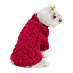 FouFou Dog Urban Knit Dog Sweater, Fuchsia - Dog sweaters make great gifts for friends or family who only have furry kids. This one is a stylish addition to a pet's wardrobe.