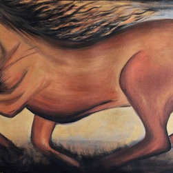 "48"" x 24"" Golden Horse by Preethi: Original Large Modern Painting - Title: Golden Horse"