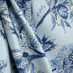 Kauf - Island Living Cobalt Blue Jacobean Floral Drapery Fabric By The Yard - The pattern Island Living in the color way Cobalt is a stunning jacobean floral fabric. This Kaufman fabric is cotton based and great for window treatments, bedding, pillows and light upholstery.