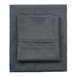 Charcoal Grey 400 Thread Count Sheets - Woven from premium extra-long staple cotton, in a 400-thread count, single ply, sateen weave, our classic hemmed sheets will feel beautifully smooth and silky against your skin. Its simple yet classic hem gives it crisp and clean lines for a timeless look for your bedroom.