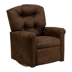 """Flash Furniture - Kids Bomber Jacket Microfiber Rocker Recliner - Kids will now be able to enjoy the comfort that adults experience with a comfortable recliner that was made just for them! This chair features a strong wood frame with soft foam and then enveloped in durable microfiber upholstery for your active child. Choose from an array of colors that will best suit your child's personality or bedroom. This petite sized recliner features a rocker frame for kids to enjoy and feel like a big kid. The rocking feature becomes disabled once the chair is reclined for safety. Child's Recliner; Bomber Jacket Microfiber Upholstery; Easy to Clean Upholstery; Plush Button Tufted Back; Spring Seat; Fire Retardant Foam; UFAC Tested and Approved; Solid Hardwood Frame; Hardwood Rocker Frame; Intended use for Children Ages 2-9; 90 lb. Weight Limit; Safety Feature: Will not rock while reclined due to welded T-Bar; Overall dimensions: 22.5""""W x 24"""" - 37""""D x 28""""H"""