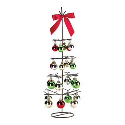KOOLEKOO - Tabletop Wire Holiday Tree - Make your holiday merrier with this cheery tabletop decoration. Rustic wire branches stretch out to support a festive collection of classic round ornaments. Topped off with a bright red satin-finish bow, this is the ultimate decoration for your holiday table setting.