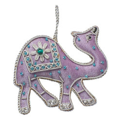 Sitara Collections - Handcrafted Beaded Camel Safari Zardosi Ornament - From our animal Kingdom Series, Meet our Desert Camel all Dressed Up for Christmas. this Handcrafted ornament is Crafted by artisans in india. this Lavender Camel ornament Features Zardozi-Style Silver Thread Embroidery and is Hand Beaded.