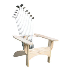 SkiChair - Golfclub Adirondack Chair in Blond Finish - Adirondack style. Finest most durable material for outdoor use. Assembled with stainless steel fasteners. Made from Port Orford Cedar. Seat Height: 15 in.. Overall: 42 in. W x 28 in. D x 38 in. HThe Golf Adirondack chair made with Port Orford Cedar and a complete set of Golf clubs is extremely comfortable with the ergonomically curved back and 100% comfort Guarantee. Hand Made Hockey/Ski chairs, complete with matching ottoman, are the finest Adirondack style chairs available. Ski chairs can be made from Baseball, Hockey, Snow or Water ski products. On the Deck, by the water, on in the Ski lodge this gorgeous Golf Chair is the place to relax after a hard day on the links.. The Cedar logs go through a checking process, which will make the logs appearas if there are cracks within. This, however does not compromise the stabilityof the product in any way. Guaranteed with a 5-year warranty.