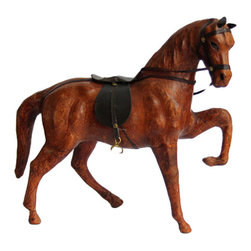 Consigned - Vintage Leather Horse Statue - Beautiful, vintage leather wrapped horse. Great size with some wear due to age. This is a gorgeous, Regency style piece that would add a great vintage pop to any space!
