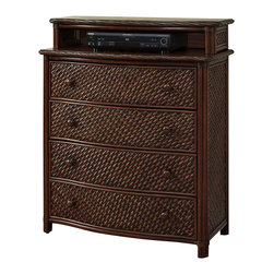 Home Styles - Home Styles Marco Island Media Chest in Refined Cinnamon Finish - Home Styles - Chests - 5544041 - Marco Island Media Chest by Home Styles is island inspired displaying a rich blend of materials including Natural Rattan woven wicker Mahogany solids and veneers in a refined cinnamon finish. The design encompasses intricate Natural Woven rattan Panels a Twisted Rattan edged top and solid mahogany posts with leather wrapped strapping. Other features include four large storage drawers with easy-glide side mounted metal guides top drawer is felt-lined cable access through hutch and matching sculpted Palm Mahogany hardware.