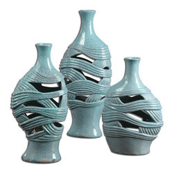 The Uttermost Company - Glesig Sea Foam Blue Vases -