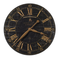 "Uttermost - Uttermost Bond Street 18"" Traditional Wall Clock X-92060 - Laminated clock face with a weathered, crackled look. Requires 1-AA battery."