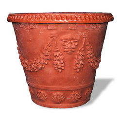 Amedeo Design, LLC - USA - Garland Seashell Planter - The Garland Seashell Planter, ornate and exotic, has a scalloped rim with lion head reliefs. This detailed and eye pleasing planter will be sure to delight any who witnesses its fine detail and stone like appearance. Though they look like ancient European & Mediterranean designs in carved stone, our products are made of lightweight weatherproof ResinStone, its so authentic you have to feel it to believe it. Made in USA.