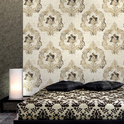 Luca Cream Crushed Velvet Damask Wallpaper - A regal damask printed wallpaper on a crushed velvet textured bed, brings to your walls fine Italian luxury and splendor.