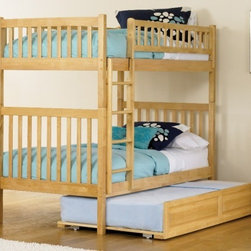 Arizona Bunk bed in Natural Maple by Atlantic Furniture - The Arizona Bunk Bed is the perfect mission-style bunk bed for your children's bedroom. Available in twin-over-twin construction with railings on the top bunk, the sturdy Arizona Bunk Bed is constructed of solid hardwood. Add optional under-bed storage drawers or an optional trundle unit to make the most of under-bed space.