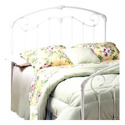 Hillsdale Furniture - Maddie Victorian Inspired Metal Headboard in - Choose Bed Size: TwinGraceful with an elegant edge, this Victorian inspired headboard will easily enhance your home's decor. The charming piece is finished in glossy white and is enhanced by sweeping scrollwork and floral castings for added appeal. It is available in your choice of size options. For residential use. Includes headboard and frame rails. Victorian styledDimensions:. Twin: 39 in. W x 2 in. D x 50 in. H. Twin frame: 76.5 in. L x 54 in. W. Full/queen: 60 in. W x 50 in. H. Full/queen frame: 83.5 in. L x 78 in. W. King: 78 in. W x 50 in. H. King frame: 83.5 in. L x 78 in. WA lightly scaled, Victorian styled headboard that marries interesting scroll work with vivid castings. Perfect for the little girls.