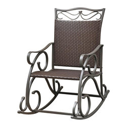 International Caravan - Patio Rocker in Chocolate Finish - Weather resistant. UV light fading protection. Coated frame. Made from wicker resin and steel frame. Assembly required. 39 in. W x 23 in. D x 41 in. H (33 lbs.)