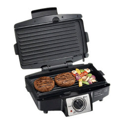 HAMILTON BEACH BRANDS, INC. - Hamilton Beach Easy Clean Indoor Grill, Indoor Grill - Hamilton Beach Easy Clean Indoor Grill gives you the high heat needed to lock in juices and properly brown the outside. It features easy-to-use controls and built-in versatility. Its removable grids are dishwasher safe and the nonstick surface opens flat to a 110 square inch grill.