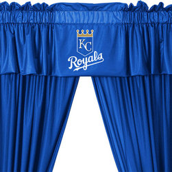 store51 - MLB Kansas City Royals Drape Valance Set Baseball Drapery, 82 Wide X 84 Drop - FEATURES:
