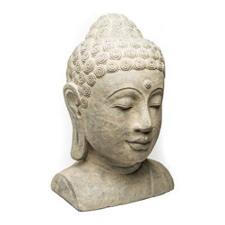 Repose Home - Sovereign Buddha Head - At 20 inches high, our large Buddha head is sure to be a dramatic focal point in your garden. Cast in elegant, stone washed volcanic ash and weatherproofed for indoor or outdoor use.