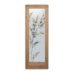 """Interior Glass Doors - Frosted Semi Private BAMBOO FOREST - CUSTOMIZE YOUR INTERIOR GLASS DOOR!  Interior glass doors ship for just $99 to most states, $159 to some East coast regions, custom packed and fully insured with a 1-4 day transit time.  Available any size, as interior door glass insert only or pre-installed in an interior door frame, with 8 wood types available.  ETA will vary 3-8 weeks depending on glass & door type.........Block the view, but brighten the look with a beautiful interior glass door featuring a custom frosted glass design by Sans Soucie!   Select from dozens of sandblast etched obscure glass designs!  Sans Soucie creates their interior glass door designs thru sandblasting the glass in different ways which create not only different levels of privacy, but different levels in price.  Bathroom doors, laundry room doors and glass pantry doors with frosted glass designs by Sans Soucie become the conversation piece of any room.   Choose from the highest quality and largest selection of frosted decorative glass interior doors available anywhere!   The """"same design, done different"""" - with no limit to design, there's something for every decor, regardless of style.  Inside our fun, easy to use online Glass and Door Designer at sanssoucie.com, you'll get instant pricing on everything as YOU customize your door and the glass, just the way YOU want it, to compliment and coordinate with your decor.   When you're all finished designing, you can place your order right there online!  Glass and doors ship worldwide, custom packed in-house, fully insured via UPS Freight.   Glass is sandblast frosted or etched and bathroom door designs are available in 3 effects:   Solid frost, 2D surface etched or 3D carved. Visit our site to learn more!"""