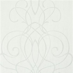 Walls Republic - Embroid Grey Wallpaper R2458 - Embroid is a swirling ornamental pattern that forms romantic stripes across your wall. Drawing inspiration from Camargue, France it creates a soft subtle elegance in your living room. This one-of-a-kind damask pattern is offered a range of chalky pastel colours to transform your interiors.