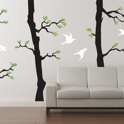 Cherry Walls - Forest Pine Decal, Black/Lime Tree Green/White - Slip away to your quiet retreat. It only takes a few moments to still your mind, and it only takes a few minutes to surround yourself with awe-inspiring pine trees, no matter where you live. With these gorgeous pine tree decals, you can instantly transform any room into a tranquil space perfect for gathering your thoughts and creative ideas.