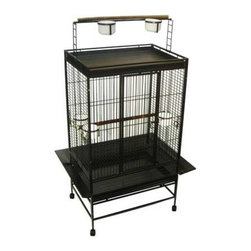 """YML - Play Top Wrought Iron Parrot Cage - Features: -Parrot cage. -Large swing outdoor. -3 Feeder doors and 5 heavy plastic cups. -2 Dowl Perches. -Easy clean removable metal grate. -Easy clean slide out bottom metal tray (top and bottom). -Seed guard to prevent food drop on the floor. -Powered coated finish. -Heavy duty caster. Specifications: -Bar spacing: 0.75"""". -Cage dimensions: 33"""" H x 32"""" W x 23"""" D. -Overall dimensions: 66"""" H x 32"""" W x 23"""" D."""