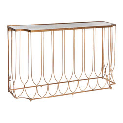 Kathy Kuo Home - Wishbone Hollywood Regency Gold Antique Mirror Console Table - Delicate, gold wishbone inspired legs support a curvaceous, heraldic mirrored top. The antique gold console table is stylish beside stairs or stunning in a solarium. This glamorous piece brings a hint of Hollywood anywhere it stands.
