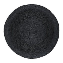 Round Kerala Gray Jute Rug - Jute brings a magnificent, chunky texture to any space. These rugs are expertly handloom-woven by skilled weavers who employ a variety of traditional techniques to create these simply beautiful styles. Jute fibers exhibit naturally anti-static, insulating and moisture regulating properties. It is predominantly farmed by approximately four million small farmers in India and Bangladesh and supports hundreds of thousands of workers in jute manufacturing (from raw material to yarn and finished products).