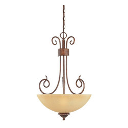 """Designers Fountain - Aged Umber Bronze And Venetian Scavo Glass Pendant/Chandelier - Width: 15.75"""""""