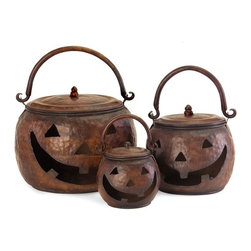 """IMAX - Lidded Pumpkins - Set of 3 - Set of three lidded pumpkins featuring a handle and a hammered metal finish. Item Dimensions: (10-13-16""""h x 6.75-9.75-13.5""""d)"""