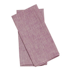 Birdkage - Plum Tea Towels - Ripe and juicy, these tea towels will add sweet, soft color hanging in your kitchen, lining a breakfast tray or dancing across a place setting as oversize napkins. The textured linen features contrasting topstitching for extra eye candy. And they're sold in sets of two so you can pick a bushel.