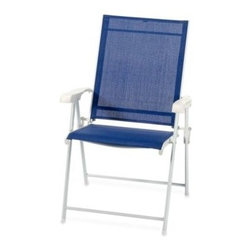 "Pride Family Brands Inc. - Folding Blue Sling Chair - Folding chair comes in handy whether you're relaxing in the sun or need an extra chair around an outdoor table. With a durable steel frame, chair folds for easy storage. Measures 24"" L x 31.9"" W x 38.2"" H."