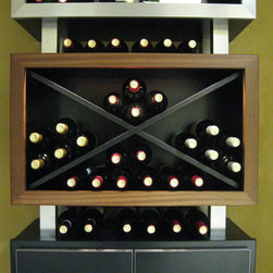 """Kessick Contemporary Wine racking - This contemporary wine storage product is the perfect balance of functional wine storage and contemporary design. This new product line from Kessick Wine Cellars was developed to meet the demand for wine storage and display in a contemporary format. Model KC 17 consists of 3 storage units, Presentation display, Diamond Bins and Open Unit with brushed aluminum door frame and black lacquer center panel (great for liquor storage). Each unit is finished with black lacquer inside and out and its 1.25"""" thick box wall are complimented with a face frame of brushed aluminum, Sapele mahogany or black lacquer face frame giving it a solid, yet sleek modern appearance. The bottom unit sits on an adjustable base platform of brushed aluminum and each unit has corresponding stand-offs, connecting each unit and allowing for additional wine bottle storage. Price for this model includes integrated LED lighting with dimming controls and driver. Storage options (not shown) include 750 and magnum cubbies, triangle bins, stemware rack, large bottle display, 'label out' wine storage and more. Kessick Contemporary can be installed as a wall mounted application for a free-floating cantilevered affect."""