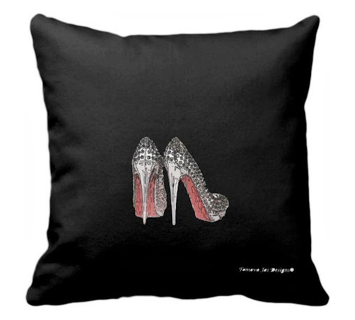 Tomova Jai Designs - High Glam Sparkle Heels Decorative Pillow, Black - Sparkling stilettos is just what you need to add a touch of glam to your home.