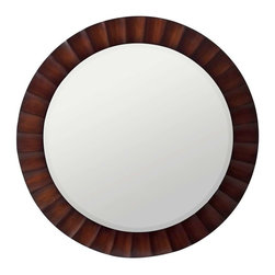 Cooper Classics - Cooper Classics Savona Round Mirror, Washed Brown, Dark Brown Highlights - -Washed Brown finish with Dark Brown Highlights