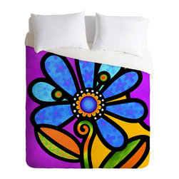 DENY Designs - Steven Scott Cosmic Daisy In Blue Duvet Cover - Turn your basic, boring down comforter into the super stylish focal point of your bedroom. Our Luxe Duvet is made from a heavy-weight luxurious woven polyester with a 50% cotton/50% polyester cream bottom. It also includes a hidden zipper with interior corner ties to secure your comforter. it's comfy, fade-resistant, and custom printed for each and every customer.