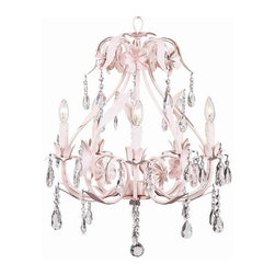 Jubilee Collection - 5 Arm Chandelier - Ballroom - Pink - Material: metal, glass. 20 x 25 in.