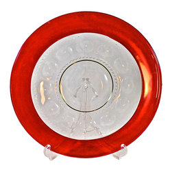 "Indiana Glass - Adonis Collection | Indiana Glass - Indiana Glass Company hostess plate in ruby red, flashed glass over clear crystal, in ""Kings Crown"".  The ""King's Crown"" pattern was also called ""Thumbprint"" and number 77.  It was introduced in the late 1950s, and made in various colors. This is heavy, substantial glass. 13"" diameter. Fine condition."