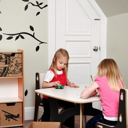 Sprout Modern Kids Furniture - Sprout Kids Table and Chairs set in a kids' room. Also shows 6 Cubby Shelf with City Print Cardboard Cubby Bins.